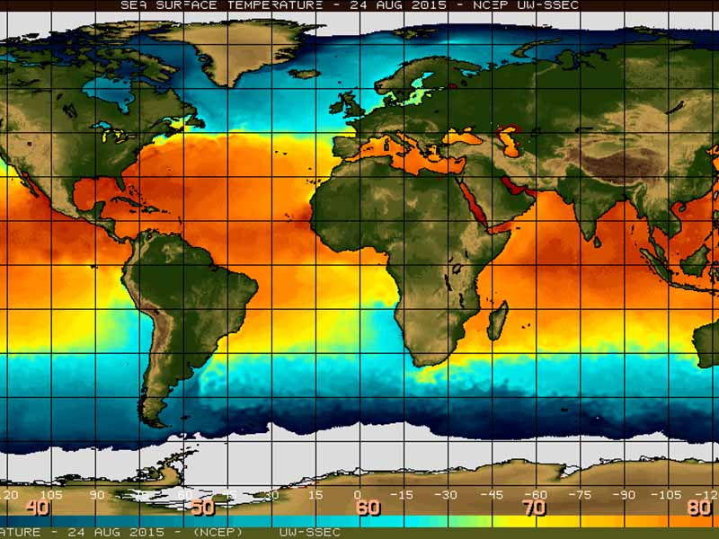 World map showing the increase in sea surface temperatures